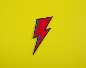 David Bowie Inspired Lightning Bolt Iron On Patch Embroidery Sewing Customise Denim Cotton Glam Aladdin Sane Ziggy Stardust '80s Punk Rock