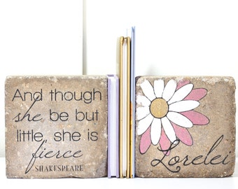 Bookends- Personalized Childs Name/  Shakespeare/ And though she be but little/ Nursery Decor/ Girl Bookend/ Rustic Bookends/ Girl Nursery