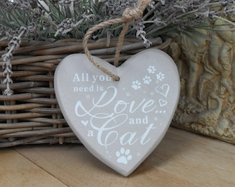 Hand Painted Wooden Heart CAT Plaque, Choice of 2, Pet Lover, Gift