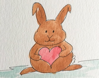 Bunny Valentine Holding a Heart