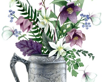 Fine Art Print of Original Watercolor Painting - Butterfly Bouquet