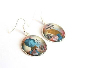 LITTLE girl and umbrella cabochon earrings