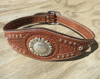 """Ladies Concho Waist Belt With Nickel Spots And Fancy Nickel Buckle, Hand-Tooled And Hand-Stitched. Size 31-1/2""""."""