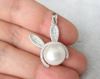 White pearl pendant, freshwater pearl s925 sterling silver pendant, rabbit pearl necklace,L-BM-0428