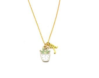 Succulent Necklace - Plant Charm - Personalized Necklace - Custom Initial Necklace- Gold Necklace - Gift For Her - Succulent Charm - Plant