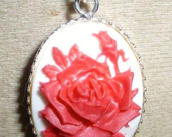 Silver 925 Valentine red rose cameo pendant