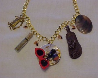 DAY at the BEACH NECKLACE~Genuine California Beach Sand~Leather Thong/Sandle~Sunglasses~Beach Ball~Coke~Shells~Crab~~Beach Bum Necklace
