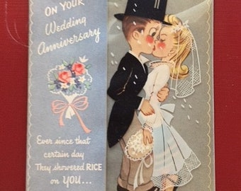 Vintage Wedding Anniversary Card from 1940s, Anniversary Card with Bride and Groom