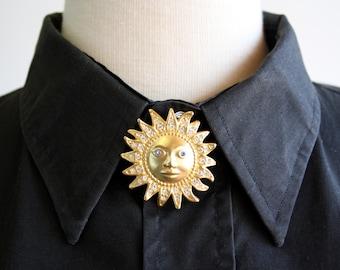 Vintage 90's Gold Tone Sun Brooch