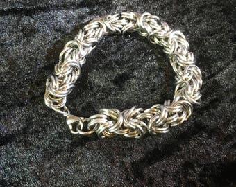 Chunky Byzantine Stainless Steel Chainmaille Bracelet - Big and Manly Bracelet - Double Byzantine Chain Bracelet
