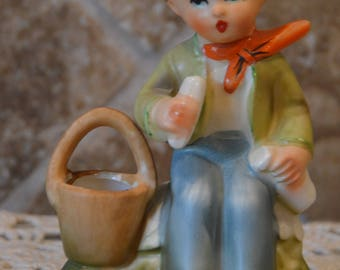 Boy With Basket and Bread~Arnart 5th Ave~Handpainted~55/1880~Excellent Vintage Condition