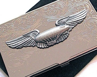 Business Card Case Steampunk Airship Dirigible Blimp Wings Thin & Slim Silver Plated Card Holder Gothic Victorian Florentine Scroll Pattern