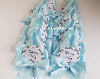 24 Welcome Baby Boy Guest Pins/Boy Baby Shower Guest Pins/Chevron Baby Shower Guest Pins/Boy Shower Guest Favors/Niño Capias Baby Shower