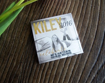 Graduation Announcement - Tear off sticky note pads - Gold & Grey Graduation Invitation - Photo and party information