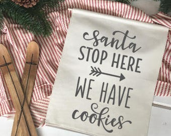 Santa Stop Here We have Cookies/ Christmas wall decor/ christmas decoration/ wall hanging/ farmhouse christmas/ christmas sign/ red black
