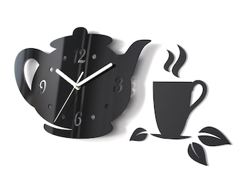 Kitchen Tea Time Clock - Modern Wall Clock