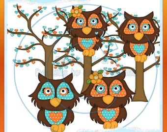 Love Owls Tangerine Color 2 Clipart (Digital Download)