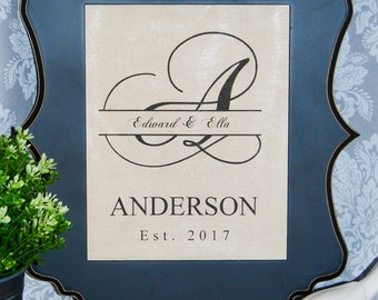 Linen Monogram Print with Initials and Wedding Date : WEDDING GIFTS