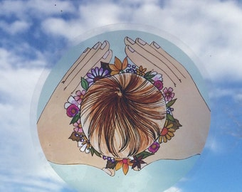 "CROWN Window Sticker/ 5""/  Birth art/ Midwife/ Doula/ Gift for Midwife/ Gift for doula/ window cling"