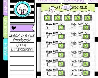 Hulu Bill FN-120 | 17 Hand Drawn Planner Stickers