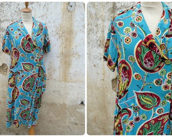 Palmettes Vintage 1950/50s French  huge paisley turquoise atomic printed cotton  wrapped dress size M/L