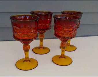 Tiara Constellation Sunset Amberina Goblets - Indiana Glass - Wine Water