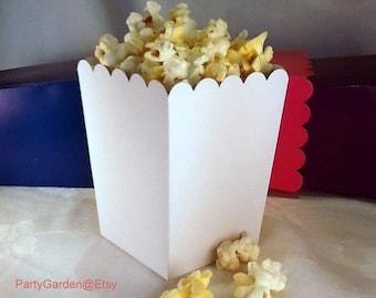 24 Mini White popcorn boxes treats favors