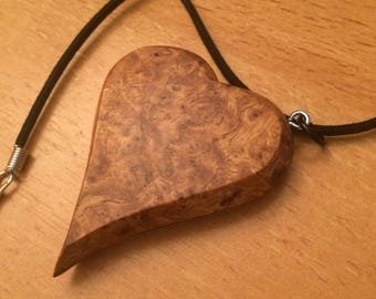 Amboyna Burl and Quilted Maple Heart pendant necklace