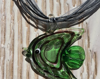 glass pendant fish shape necklace