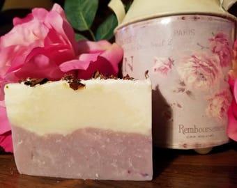 Handmade Wild Rose Soap.  Vegan friendly, cruelty-free, cold process soap