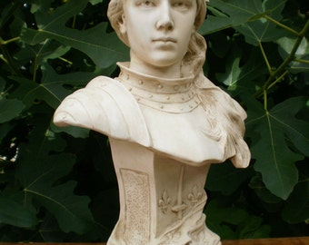 """High Bust of Joan of Arc in Armor with Laurel Wreath (16.7"""")"""