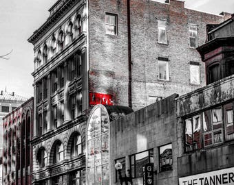Love on Boylston Street in Black & White in Boston, Massachusetts