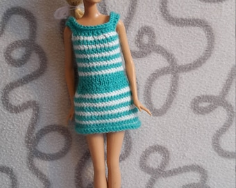 Sleeveless dress with striped pattern for barbie doll
