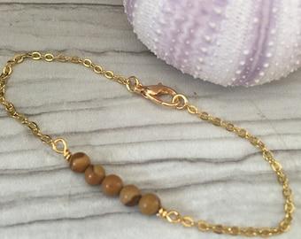 Gold Bracelet <> Tiger Jasper Bracelet