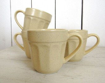 Vintage Stoneware Mugs 70s Cream Spotted Glazed Ceramic Mugs Set of 4 Retro Style