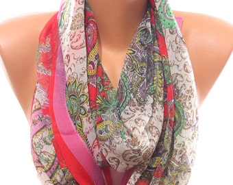 Paisley Print Red Fuchsia Silky Chiffon Spring Summer Scarf Pareo Coverup Women's Fashion Accessories Holidays  Gift Ideas For Her