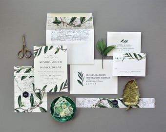 KENDRA SUITE // Botanical, Leaf, Vintage Map, Destination Wedding, Fern, Greenery, Garden