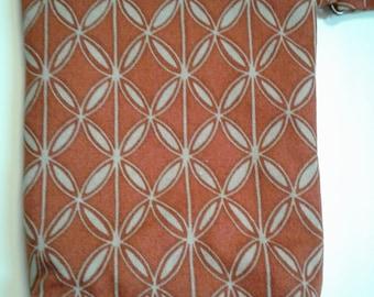 Rust Latice Clutch, 5.5w x 7.5 tall, water resistant zipper clutch, Latice Cell clutch, Bag, pocketbook, zipper pouch, cell clutch