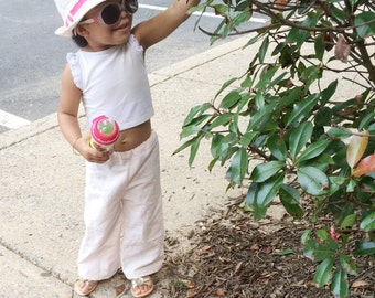 Baby girl summer linen pants • Made to order