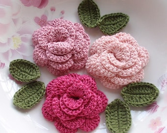 3 Crochet  Flowers (Roses) With Leaves YH - 153-01