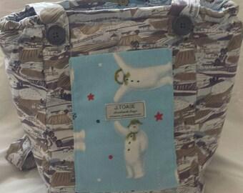 Snowman and Landscape.Vegan, Handmade, Shoulder Bag.
