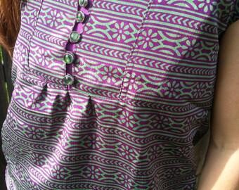 Women's Handmade Sari Silk Decorative Chest Short Sleeve Lined Blouse Summer Shirt - Plum Purple Stripe - Martina H810