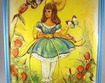 Girl in Garden Framed Litho Print Collection, Set of Four, Butterfly, Spring, Flowers, M Hartnett, Framed, Girl's Room, Cottage