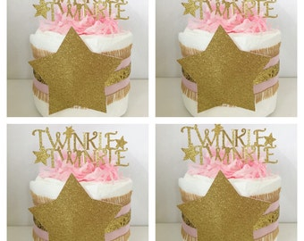 SET OF 4 Twinkle Twinkle Little Star Mini Diaper Cakes, Twinkle Twinkle Little Star Theme Baby Shower Centerpieces, Pink and Gold