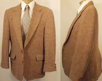 Vintage 80's Brown Wool Tattersall Mens Sport Coat Size 40