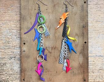 Mismatched Earrings- Festival Jewelry- Neon Earrings- Charm Earrings- Long Earrings- 80s Party- Funky 1980s Earrings- Vintage Avant Garde