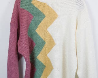Vintage Sweater, Vintage Knit Pullover, 80s, 90s, pink, white, green, yellow, colorful, pattern, oversized look