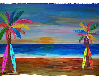 Rainbow sunset palm trees and surfboard coastal home throw blanket  o bedding from my original art.