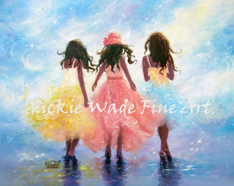 Three Sisters Art Print, three ladies of color, fashion dresses, african american girls, women, three girls, bestfriends, Vickie Wade Art