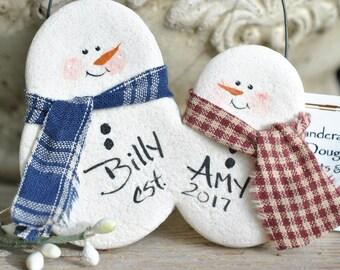 Engagement / Housewarming / Couples Ornament Gift Salt Dough Snowmen Ornament